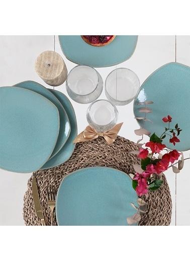 Keramika Keramika Blue Granit Köşem Pasta Tabağı 22 Cm 6 Adet Renkli